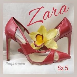 Zara Heels Red Patent Leather Pointed Toe Pumps